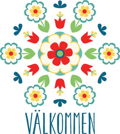 芸術愛好家には、プロジェクトでこの汎用性の高い伝統的な北欧スウェーデン装飾花民芸を使用!  イラスト・ベクター素材