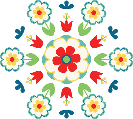 Use this versatile traditional Scandinavian Swedish Decorative Floral Folk Art on projects for your art lovers! Vettoriali