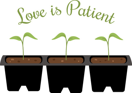 seedlings: A gardener will love these little seedlings on an apron. Illustration