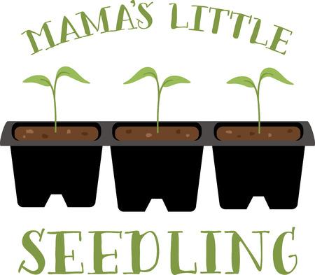 A gardener will love these little seedlings on an apron. Ilustração