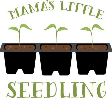 saplings: A gardener will love these little seedlings on an apron. Illustration