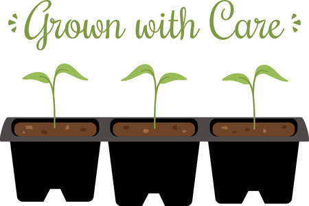 A gardener will love these little seedlings on an apron. Illustration