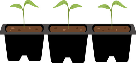seedlings: A gardener will love these little seedlings on an apron. Illustration