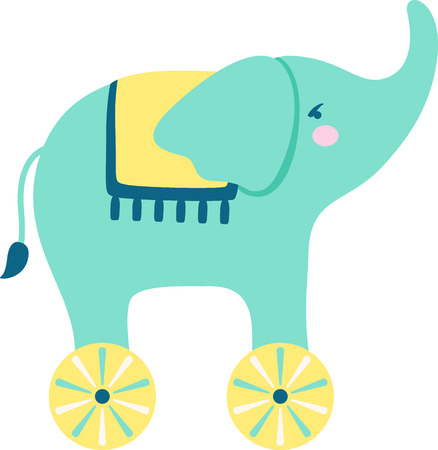 pachyderm: Colorful toys are a great way to decorate a babys outfit.