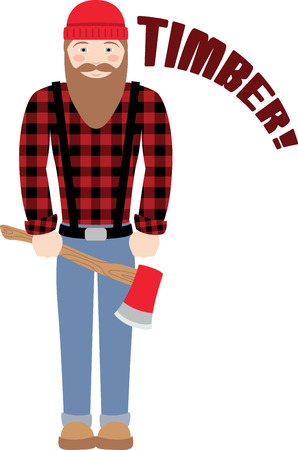 stereotypical: Have this stereotypical Canadian lumberjack with a love for chopping Trees on your Clothing and Accessories Illustration