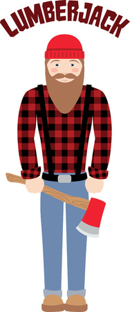 woodcutter: Have this stereotypical Canadian lumberjack with a love for chopping Trees on your Clothing and Accessories Illustration