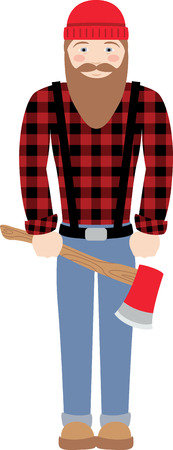 hick: Have this stereotypical Canadian lumberjack with a love for chopping Trees on your Clothing and Accessories Illustration
