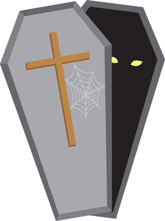 Decorate for Halloween with a spooky coffin Ilustracja