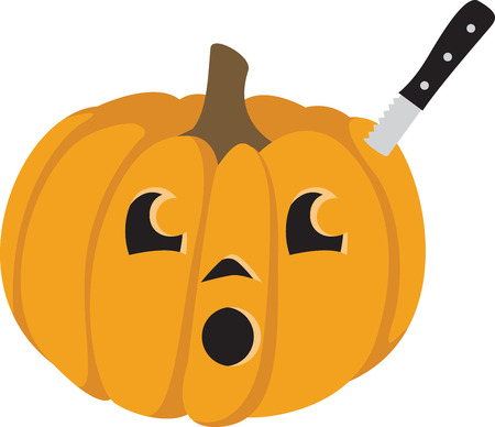 Decorate for Halloween with a carved pumpkin.