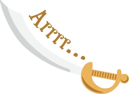 楽しんで: Kids will have fun with a pirate sword on their shirt.