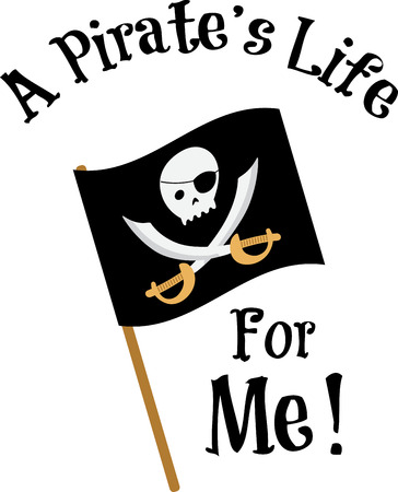 pirate flag: Kids will have fun with a pirate flag on their shirt. Illustration