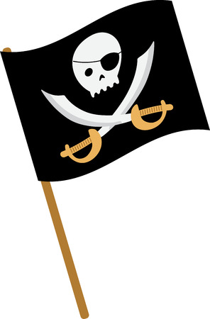Kids will have fun with a pirate flag on their shirt. Vettoriali