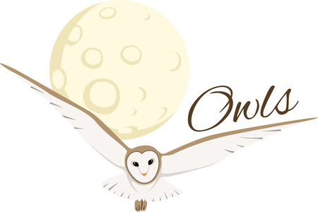 good nature: A owl soaring over the moon is a good nature lovers design. Illustration