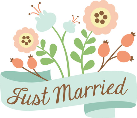 Use this floral banner for a marriage announcement.