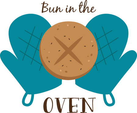 Bakers will love a hot and fresh bun on a pot holder Illustration