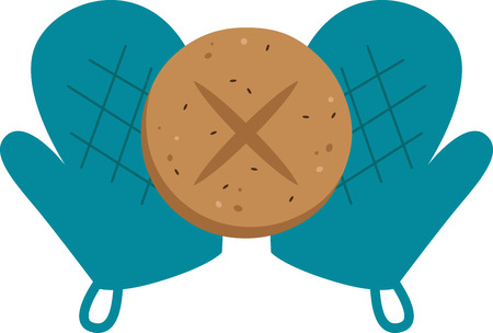 pot holder: Bakers will love a hot and fresh bun on a pot holder Illustration