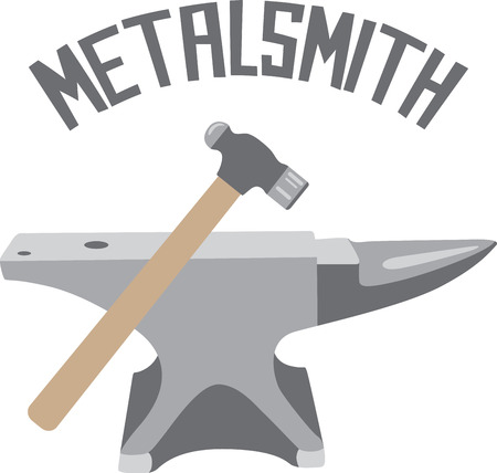 smith: Craftsmen will like some tools as a logo on an apron for their work. Illustration