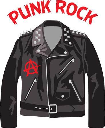 chaqueta: Roca en el lado salvaje! Stitch este diseño fresco en las camisas, bolsos, y más para sus estrellas de rock. Vectores