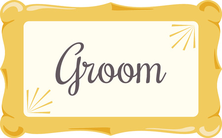 Use this blank sign for a wedding message. Иллюстрация