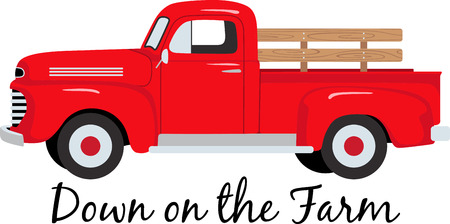 antique car: The classic farm truck will satisfy vehicle-lovers of any age!  A great design for T-shirts and sweatshirts.