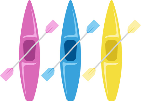 Kayaks are a great way to have an outdoor adventure on the water Ilustrace