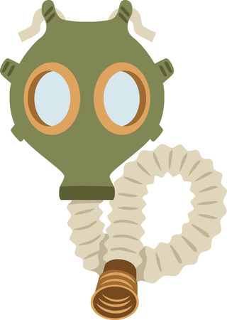 A gas mask is a funny way to change a babys diaper.