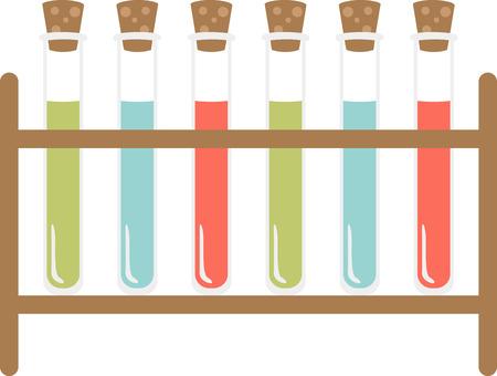 Als je van wetenschap houdt, zul je deze kleurrijke reageerbuizen geweldig vinden. Stock Illustratie