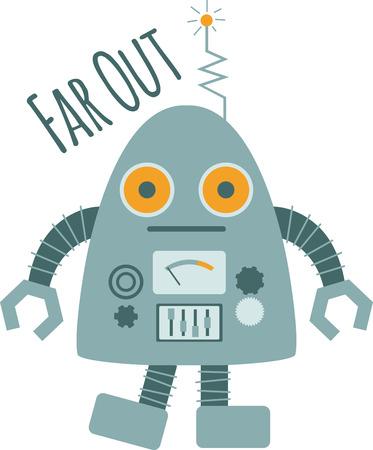 bionico: Ogni bambino sar� come un robot sciocco. Vettoriali
