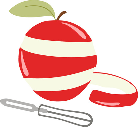 peeler: This apple will look wonderful on a kitchen towel or apron.