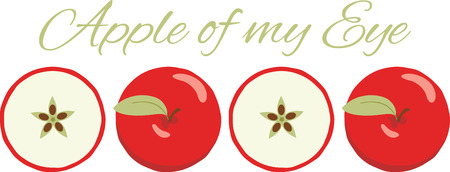 These apples will look wonderful on a kitchen towel or apron. Ilustração