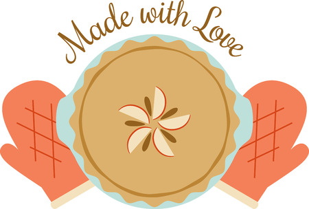 This pie will look wonderful on a kitchen towel or apron.