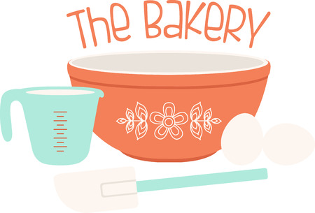 This baking design will look wonderful on a kitchen towel or apron. Ilustração