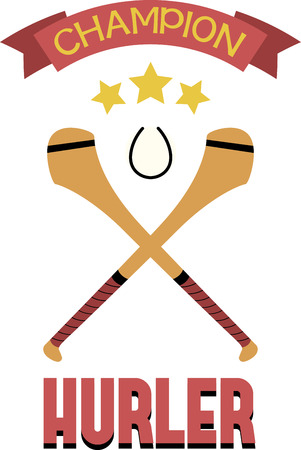 hurling: Send some good luck for your hurling player with this design. Illustration