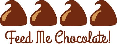 모두가 초콜릿 키스를 즐긴다. 일러스트