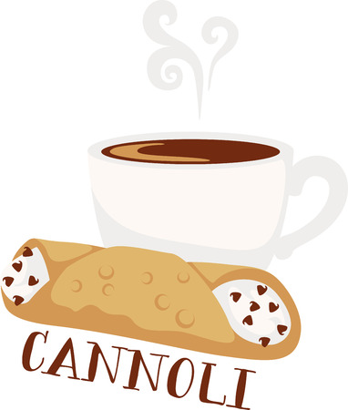 cannoli pastry: This design will make a great icon for a coffee shop. Illustration