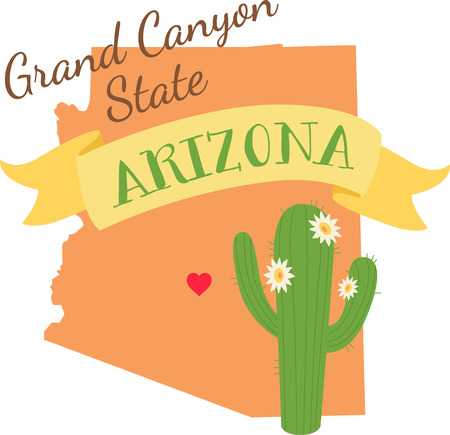 saguaro: Show your love for your favorite state and its flower. Illustration