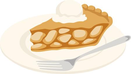 A slice of pie a la mode is a wonderful dessert treat. Illustration