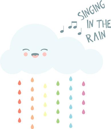 Lächeln an einem regnerischen Tag mit einem glücklichen Wolke. Standard-Bild - 43977066
