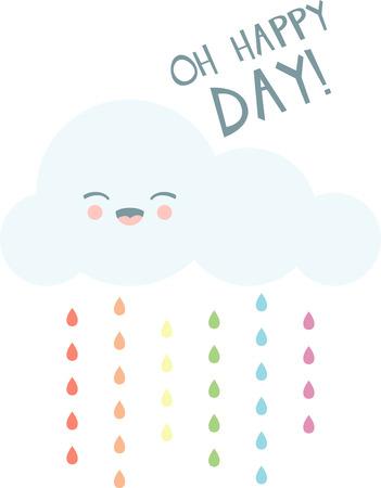 Lächeln an einem regnerischen Tag mit einem glücklichen Wolke. Standard-Bild - 43977072