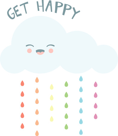 rain drop: Smile on a rainy day with a happy cloud.