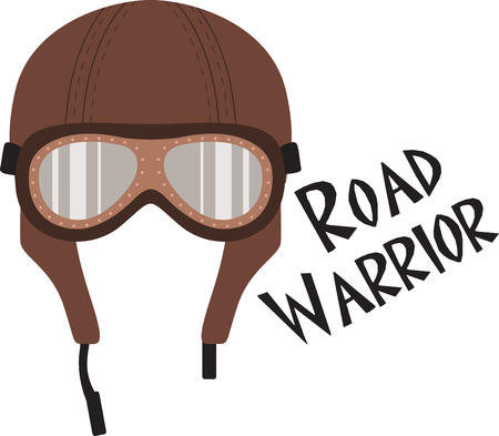 road warrior: Create show-stopping jackets, shirts and accessories for your free riders with this antique helmet design! Illustration