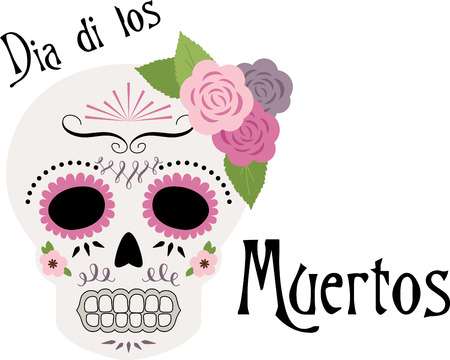Celebrate the Dia de los Muertos with this light, pretty sugar skull design on throw pillows, holiday decorations, and more.