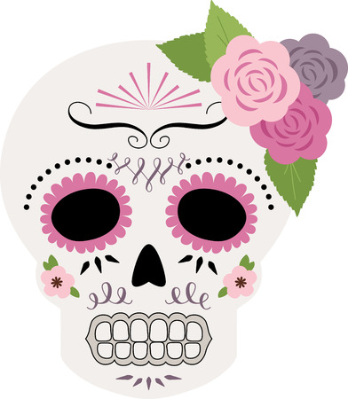 dia de los muertos: Celebrate the Dia de los Muertos with this light, pretty sugar skull design on throw pillows, holiday decorations, and more.