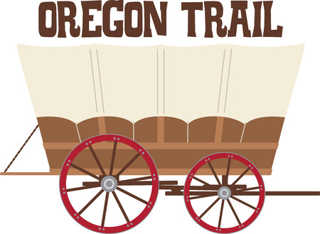 settler: Load your belongings into this covered wagon and head down the Oregon Trail!  Get ready for some adventure with this design on your indoor projects! Illustration