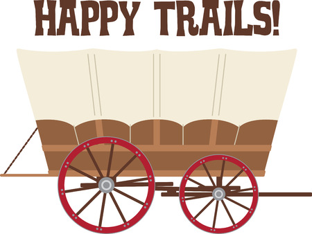 pioneer: Load your belongings into this covered wagon and head down the Oregon Trail!  Get ready for some adventure with this design on your indoor projects! Illustration
