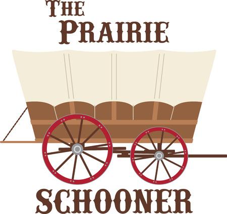 pioneer: Chargez vos affaires dans ce wagon couvert et la t�te en bas de la piste de l'Oregon! Pr�parez-vous pour une aventure avec cette conception de vos projets � l'int�rieur! Illustration