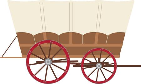 Laad je spullen in deze huifkar en hoofd naar beneden de Oregon Trail! Maak je klaar voor wat avontuur met dit ontwerp op uw indoor projecten! Vector Illustratie