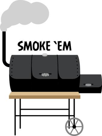 Haben Sie eine große Grillparty mit einem Raucher auf einem Grillvorrichtung Schürze. Standard-Bild - 43985448