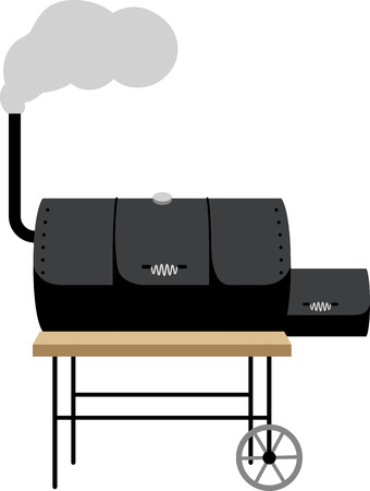 Heb een grote cookout met een roker op de schort van een griller's. Stock Illustratie