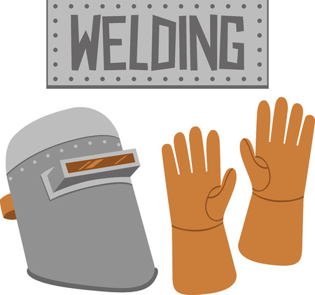 weld: Craftsmen will like some tools as a logo on an apron for their work. Illustration